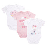 pink Smile Bodysuits - Pack of 3