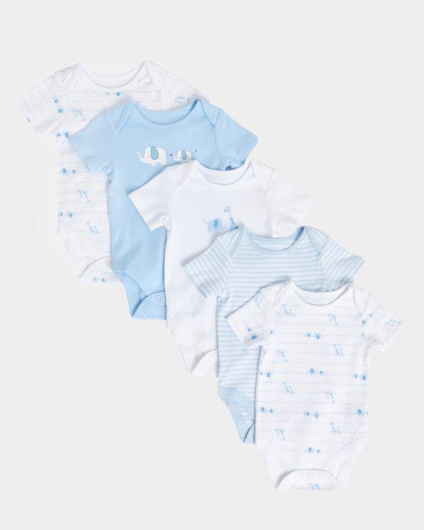 Boys Giraffe Bodysuits - Pack Of 5 (Newborn-12 months)