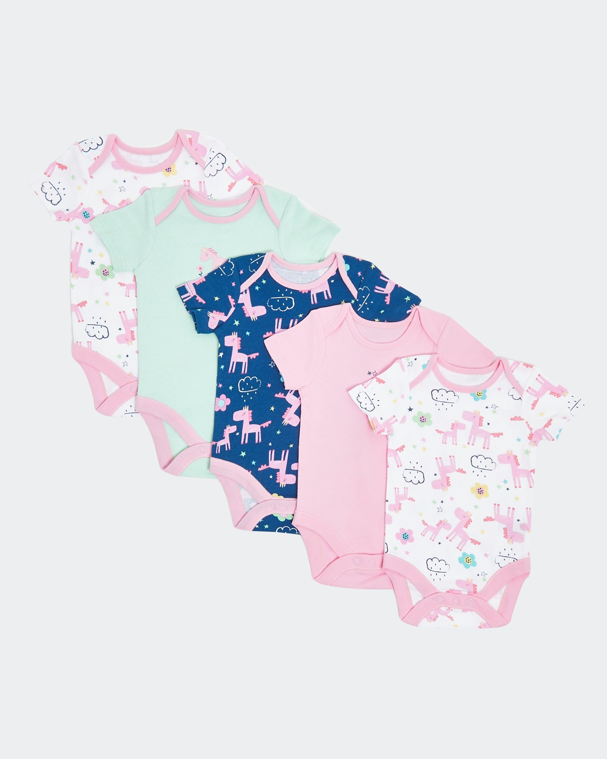 Unicorn Bodysuits - Pack Of 5 (0 months-3 years)