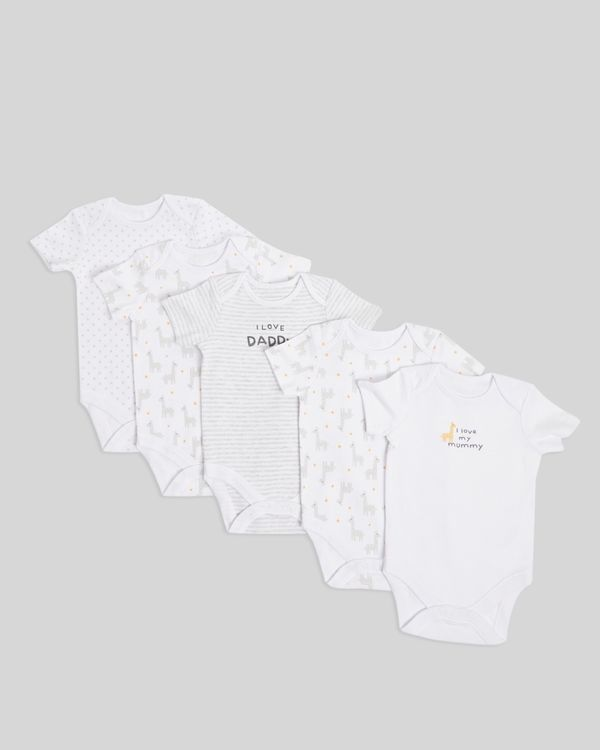 Giraffe Bodysuits - Pack Of 5 (Newborn-9 months