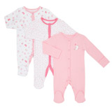 print Girls Tonal Sleepsuits - Pack Of 3
