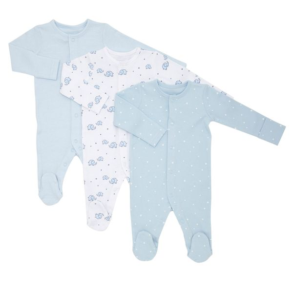 Elephant Print Sleepsuits - Pack Of 3