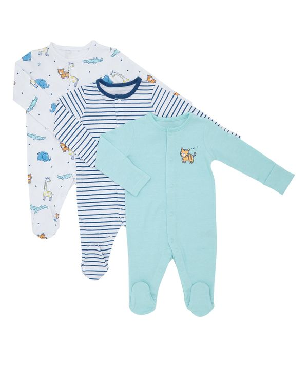 Boys Zoo Sleepsuit - Pack Of 3 (0-23 months)