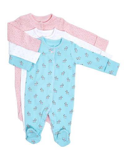 Zebra Sleepsuits - Pack Of 3 (0-23 months)