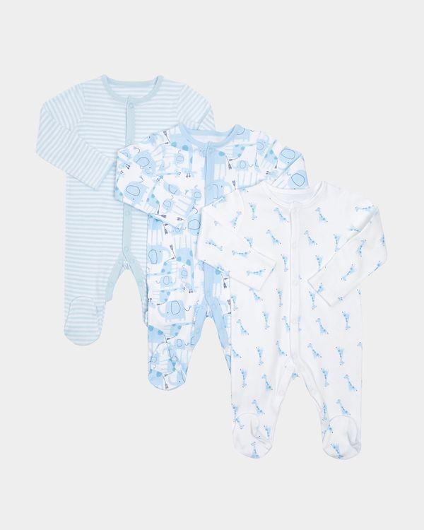 Boys Giraffe Sleepsuits - Pack Of 3 (Newborn-12 months)