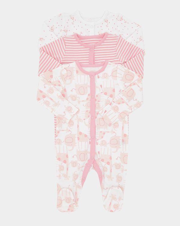 Girls Giraffe Sleepsuit - Pack Of 3