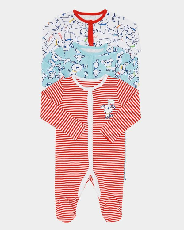 Puppy Sleepsuits - Pack Of 3