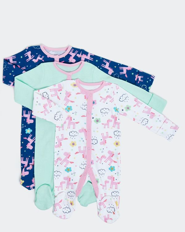 Unicorn Sleepsuits - Pack Of 3 (0-18 months)