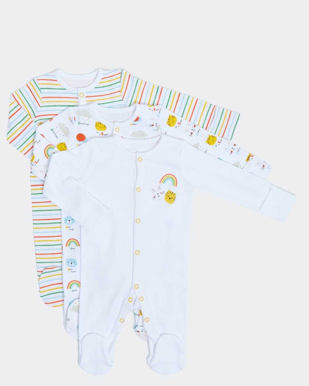 Unisex Sleepsuit - Pack Of 3 (newborn - 6 months)