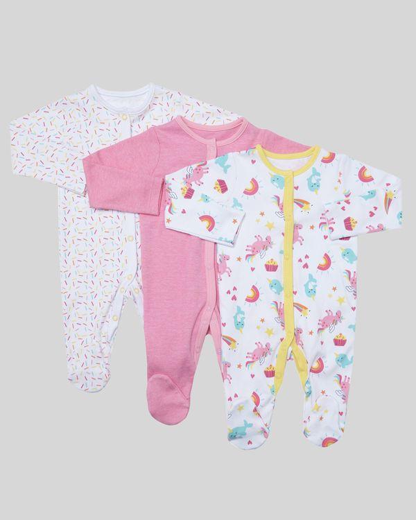 Unicorn Sleepsuit - Pack Of 3 (Newborn-23 months)