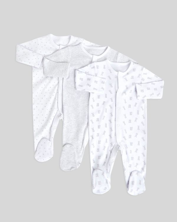 Bunny Sleepsuits - Pack Of 3 (Newborn-9 months)
