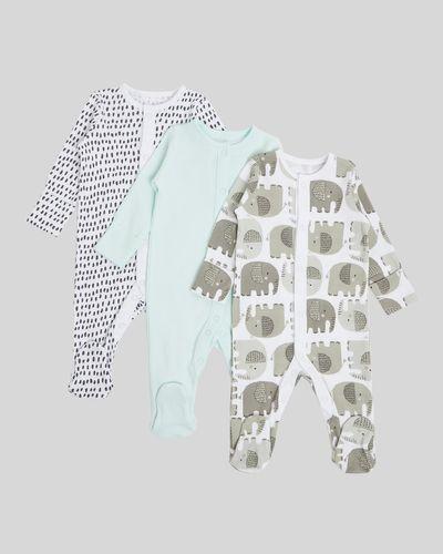 Elephant Sleepsuit - Pack Of 3 (Newborn - 9 months)