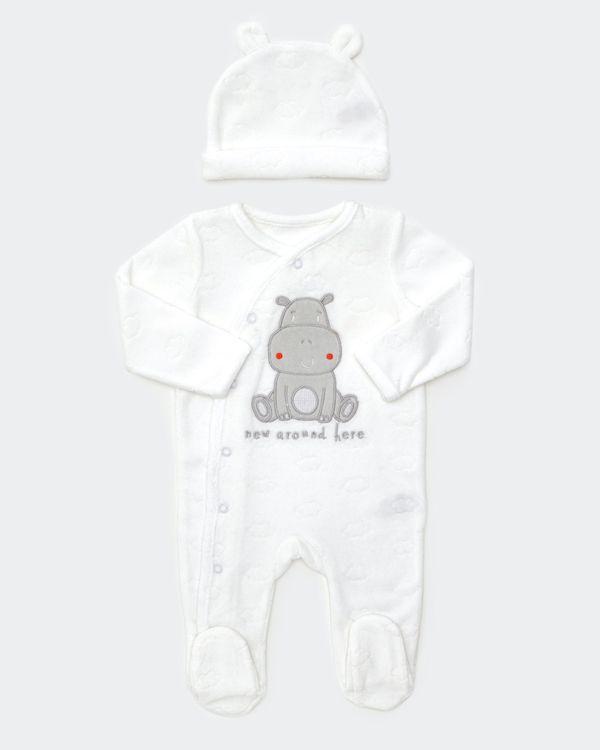 Hippo Velour Two Piece Set (Newborn - 12 months)
