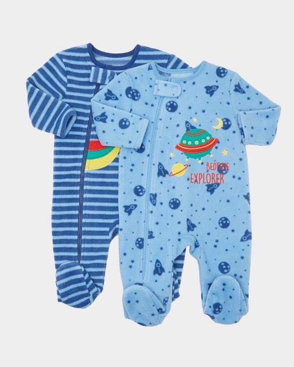 Rocket Fleece Sleepsuits - Pack Of 2 (0-23 months)