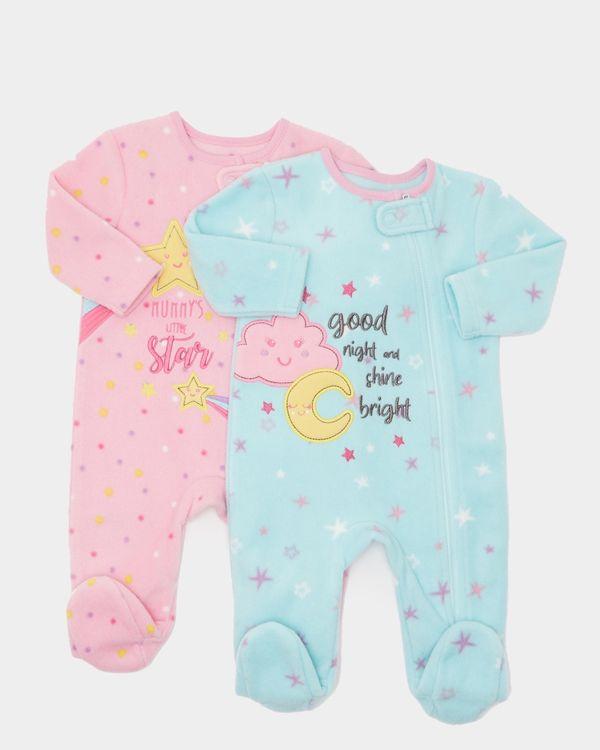 Star Fleece Sleepsuits - Pack Of 2 (0-23 months)