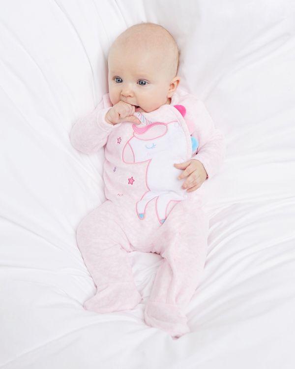 Unicorn Velour Sleepsuit (Newborn-12 months)