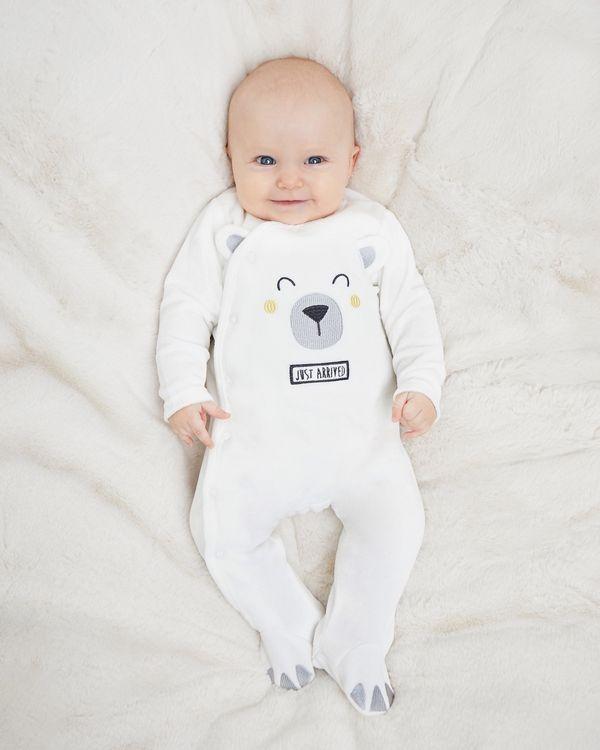 Bear Velour Sleepsuit (Newborn-9 months)