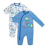blue Caterpillar Sleepsuits - Pack Of 2