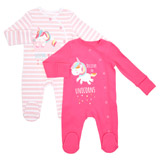 pink-white Unicorn Sleepsuit - Pack Of 2