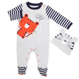 grey Lion Sleepsuit And Hat
