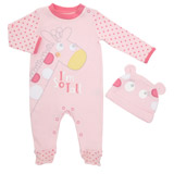 dark-pink Giraffe Sleepsuit And Hat