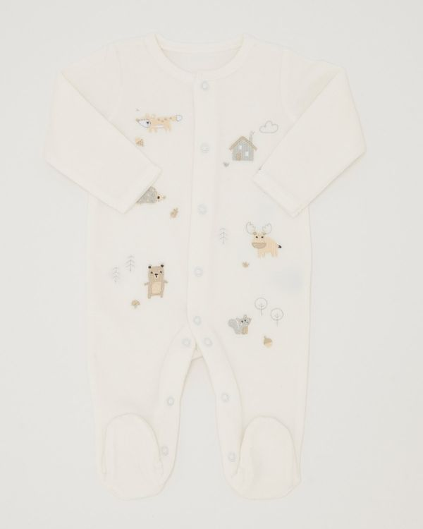 Woodland Velour Sleepsuit (Newborn-6 months)