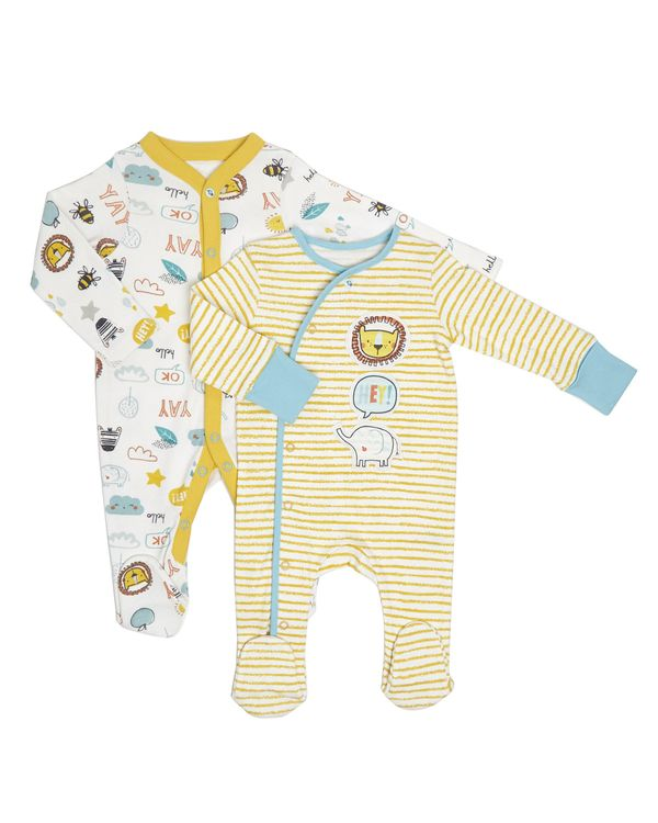 Animal Sleepsuits - Pack Of 2 (Newborn - 12 months)