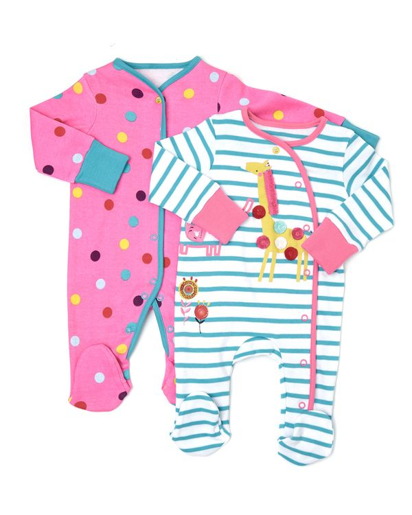 Elephant Sleepsuits - Pack Of 2 (Newborn-18 months)