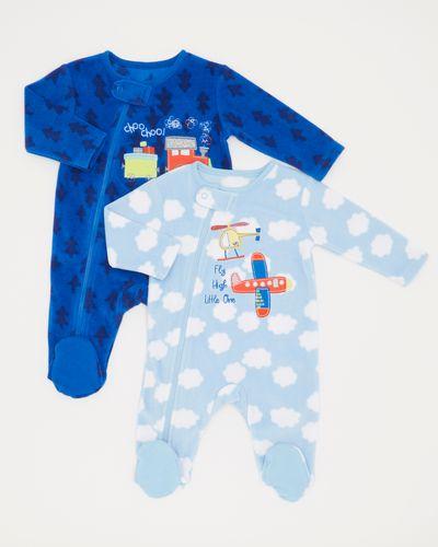 Train Fleece Sleepsuits (0-12 months) - Pack Of 2