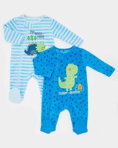 Dino Fleece Sleepsuits (0-23 months) - Pack Of 2