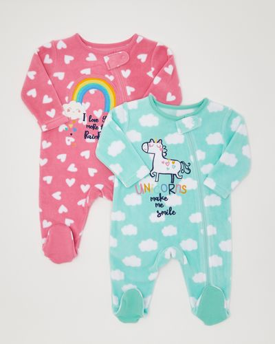 Unicorn Fleece Sleepsuit - Pack Of 2 (0-18 months)
