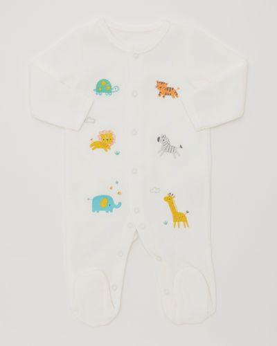 Animal Velour Sleepsuit (Newborn-6 months)