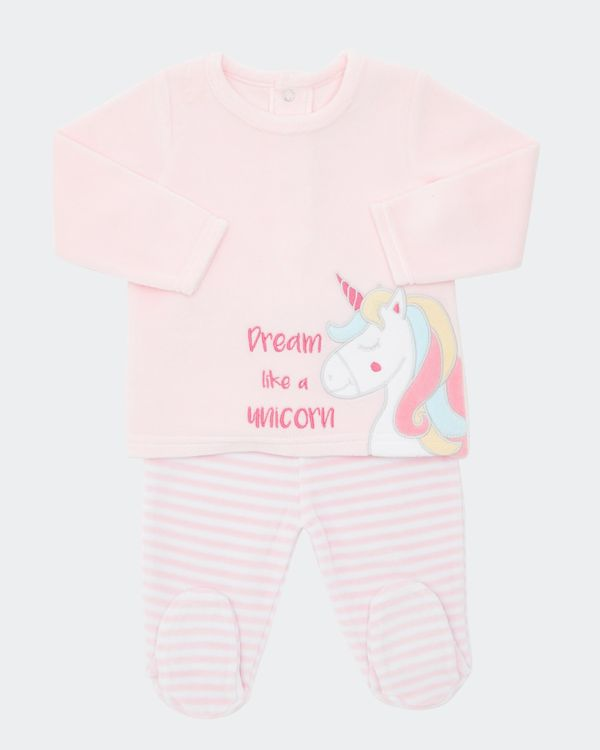 Two-Piece Unicorn Velour Set (Newborn-9 months)
