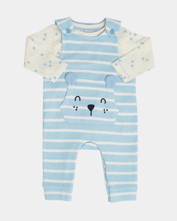 Stripe Textured Dungaree Set (Newborn-12 months)