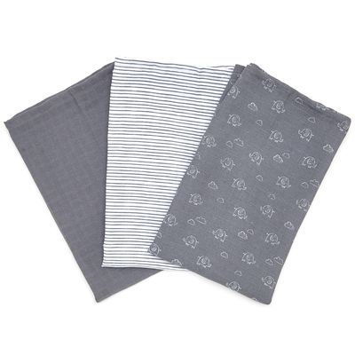 Grey Muslin Cloth - Pack Of 3