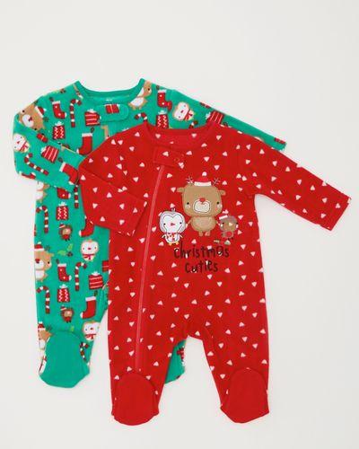 Christmas Fleece Sleepsuits - Pack Of 2 (0-23 months)