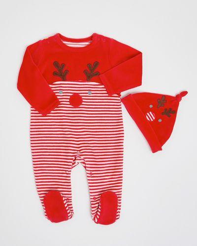 Rudolf Velour Sleepsuit (newborn-12 months)