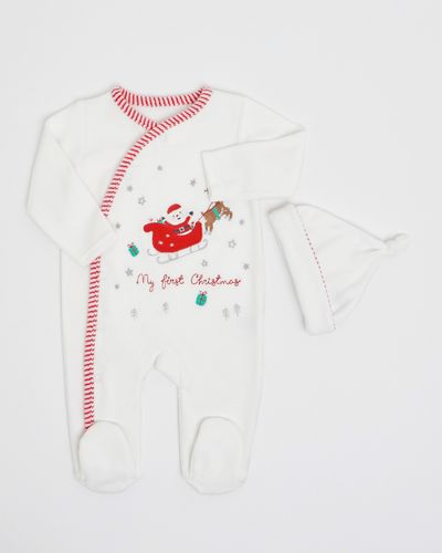 First Christmas Velour Sleepsuit With Hat (Newborn-12 months)
