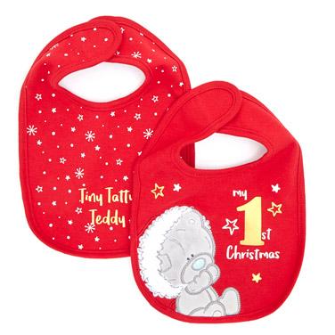 redTiny Tatty Teddy Christmas Bibs - Pack Of 2