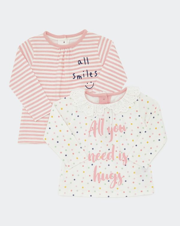 Slogan Tops - Pack Of 2 (0-12 months)