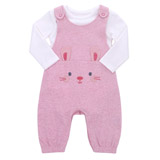 baby-pink Bunny Dungarees Set