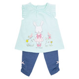 turquoise Bunny Top And Leggings Two Piece Set