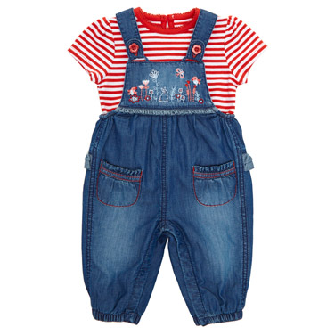 red Embroidery Dungaree Set