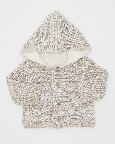 Faux Fur Lined Knit Cardigan (0-12 months) thumbnail