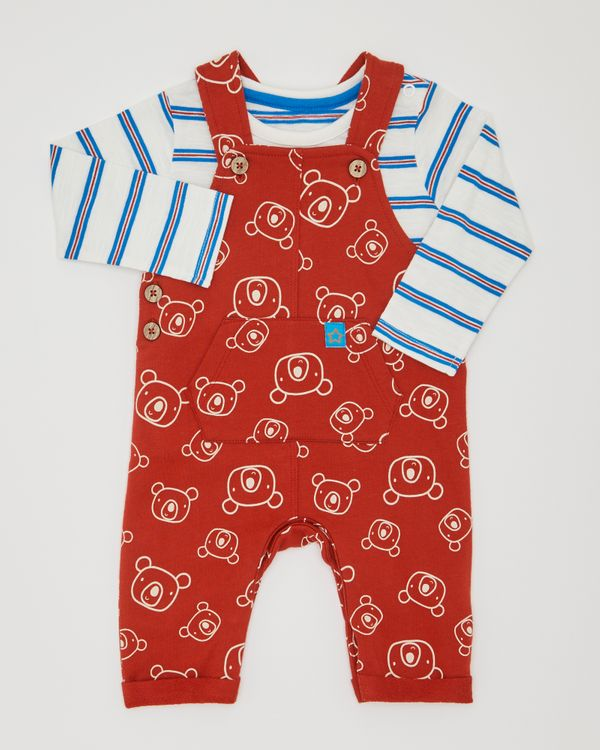 Two-Piece All-Over Print Bear Dungarees (0-12 months)