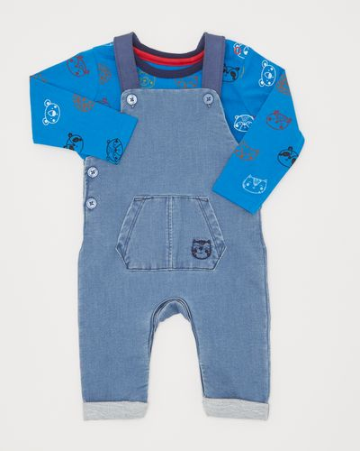 Two-Piece Denim Knit Dungarees (0-12 months) thumbnail