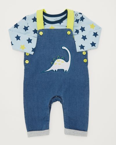 Two-Piece Denim Knit Dino Dungarees (0-12 months)