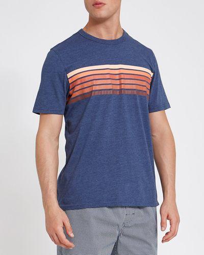 Short-Sleeved Print Stripe T-Shirt