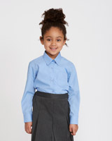 blue Easy-Care Long-Sleeved Blouse - Pack Of 2
