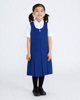 blue Pleated School Pinafore